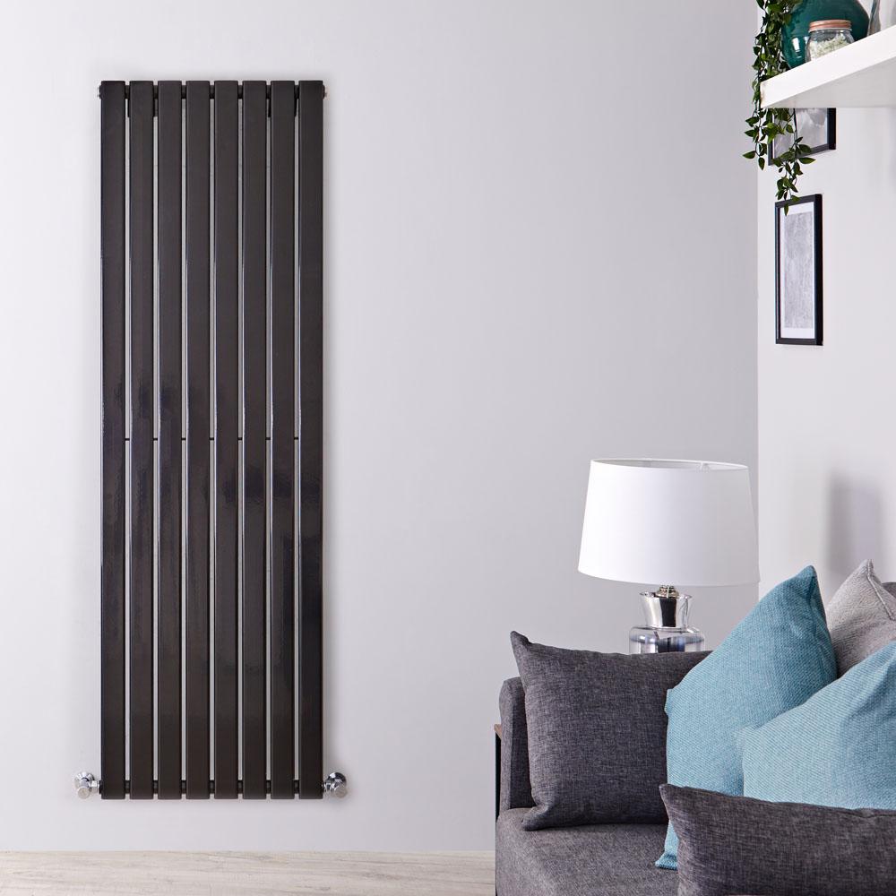 Radiador de Diseño Vertical - Negro Lúcido - 1600mm x 560mm x 47mm - 1172 Vatios - Delta