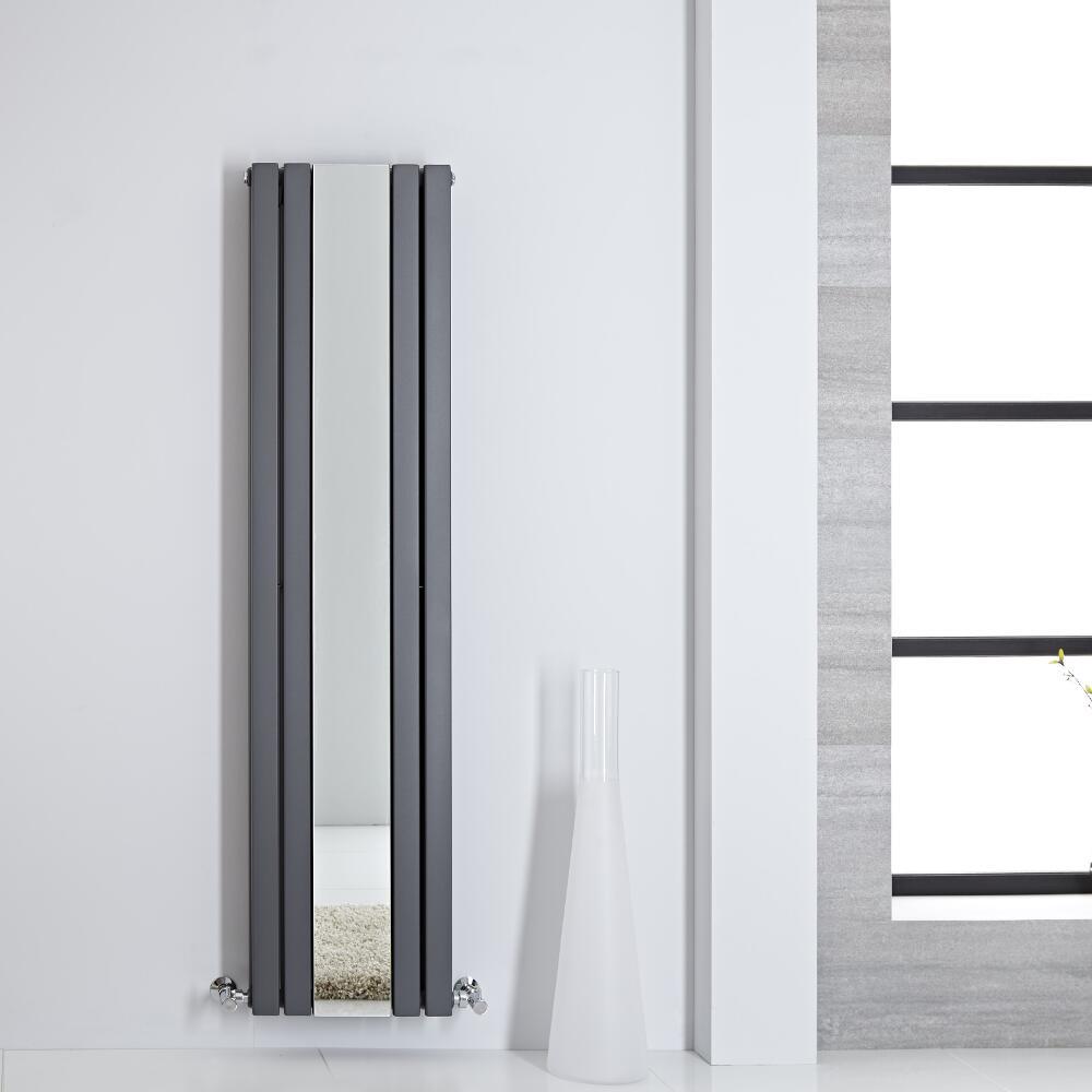 Radiador de Diseño - Vertical Con Espejo - Antracita- 1600mm x 385mm - 1474 Vatios - Sloane