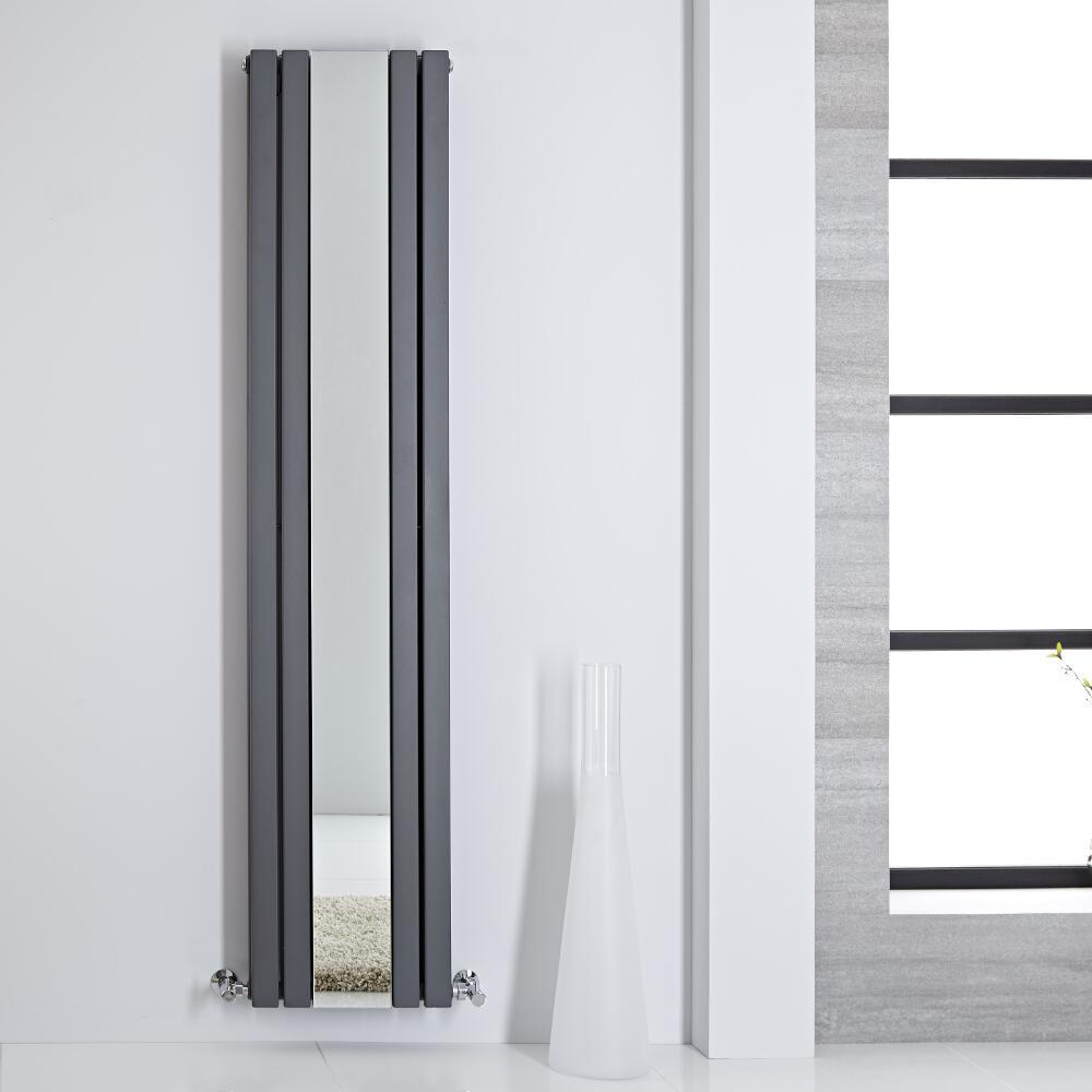 Radiador de Diseño - Vertical Con Espejo - Antracita - 1800mm x 385mm - 1658 Vatios - Sloane