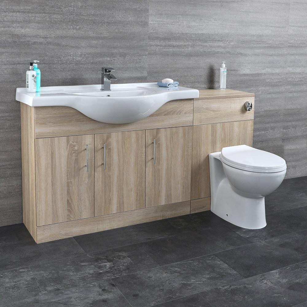 Mueble de Lavabo de 2 Puertas y Efecto Roble con Inodoro Integrado 1532x835x850mm para Cuarto de Baño - Classic Oak