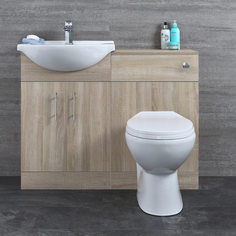Mueble de Lavabo de MDF Efecto Roble con 2 Puertas e Inodoro Integrado 1032x835x820mm - Classic Oak