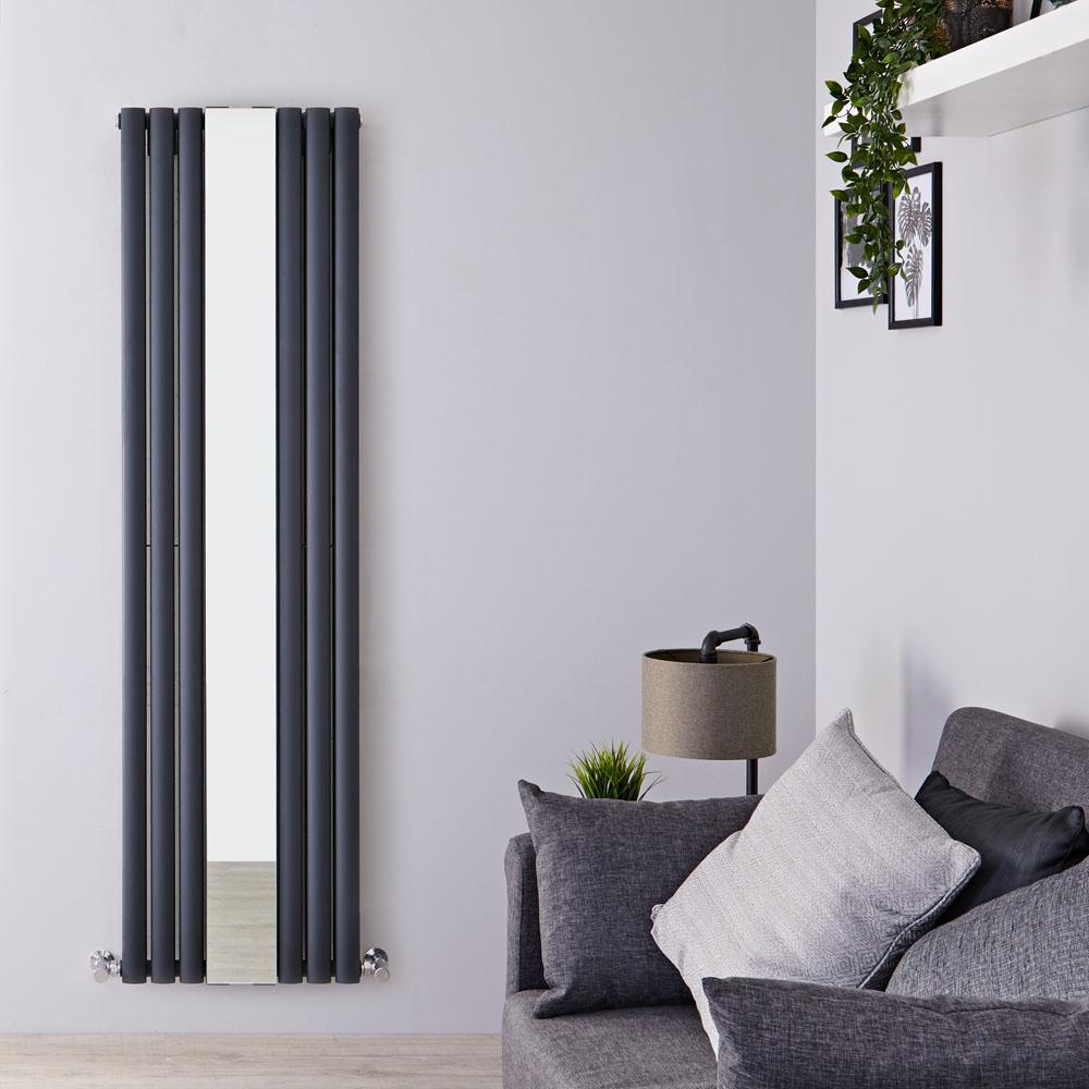 Radiador de Diseño con Espejo - Vertical - Doble - Antracita - 1800mm x 499mm x 105mm - 1613 Vatios - Revive