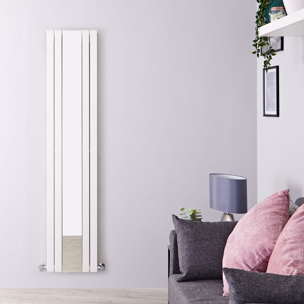 Radiador de Diseño Vertical Con Espejo - Doble - Blanco - 1800mm x 381mm x 130mm - 1696 Vatios - Sloane