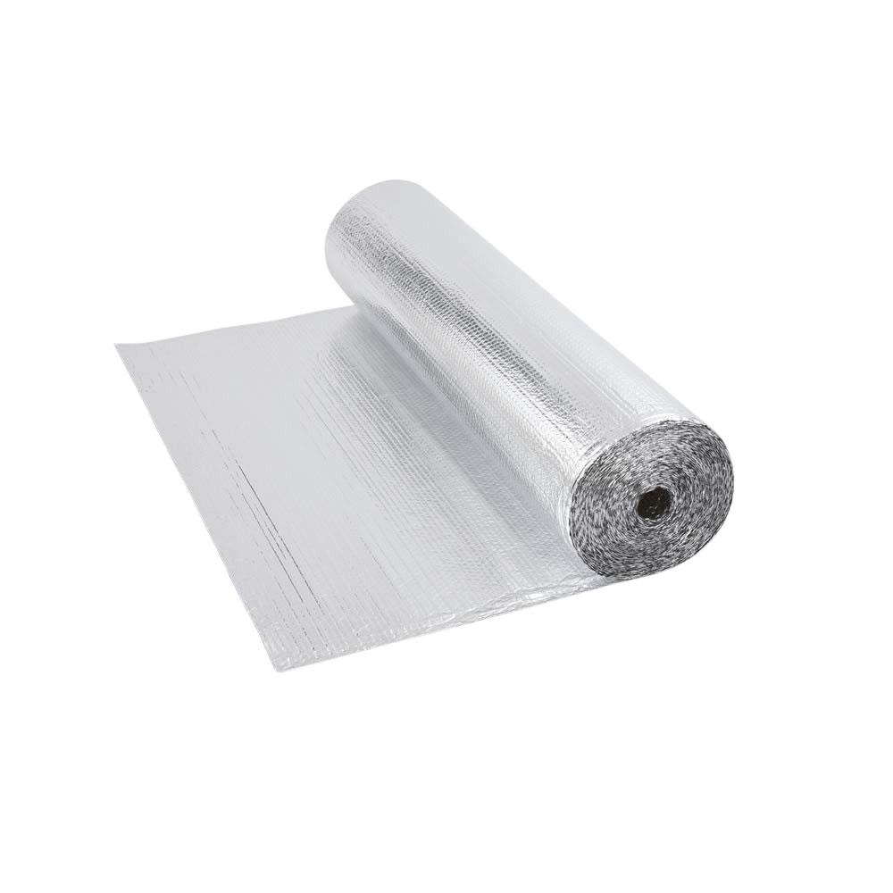 Rollo de Aislante Térmico de Doble Cara en Aluminio de 1 Capa con Burbujas  -  5m x 1,2m  - 6m2