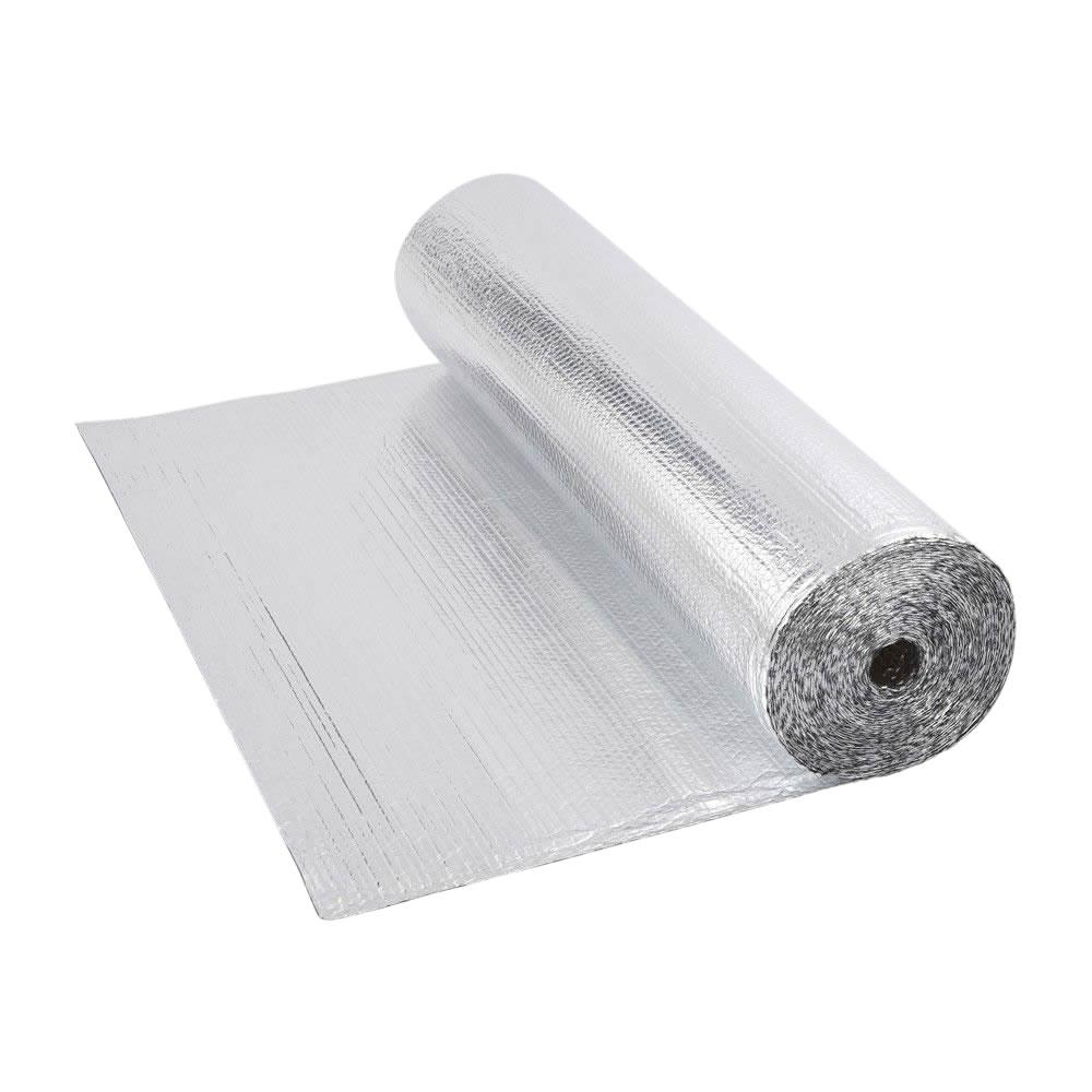 Rollo de Aislante Térmico de Doble Cara de Aluminio de 1 Capa con Burbujas de 25m x 1,2m