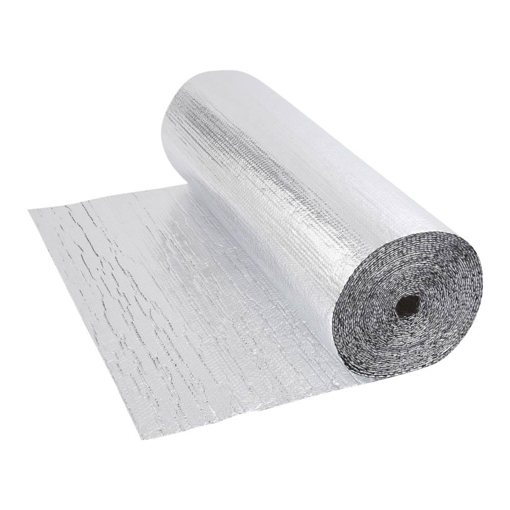 Rollo de Aislante Térmico de Aluminio de Doble Capa con Burbujas de Doble Cara - 25m x 1,2m