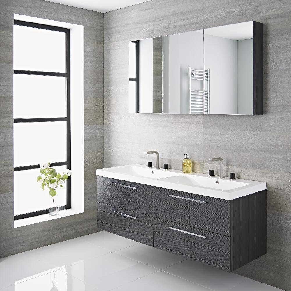 Mueble de Lavabo Suspendido Doble con Acabado Color Gris 1440x510x550mm con Lavabo Integrado - Langley