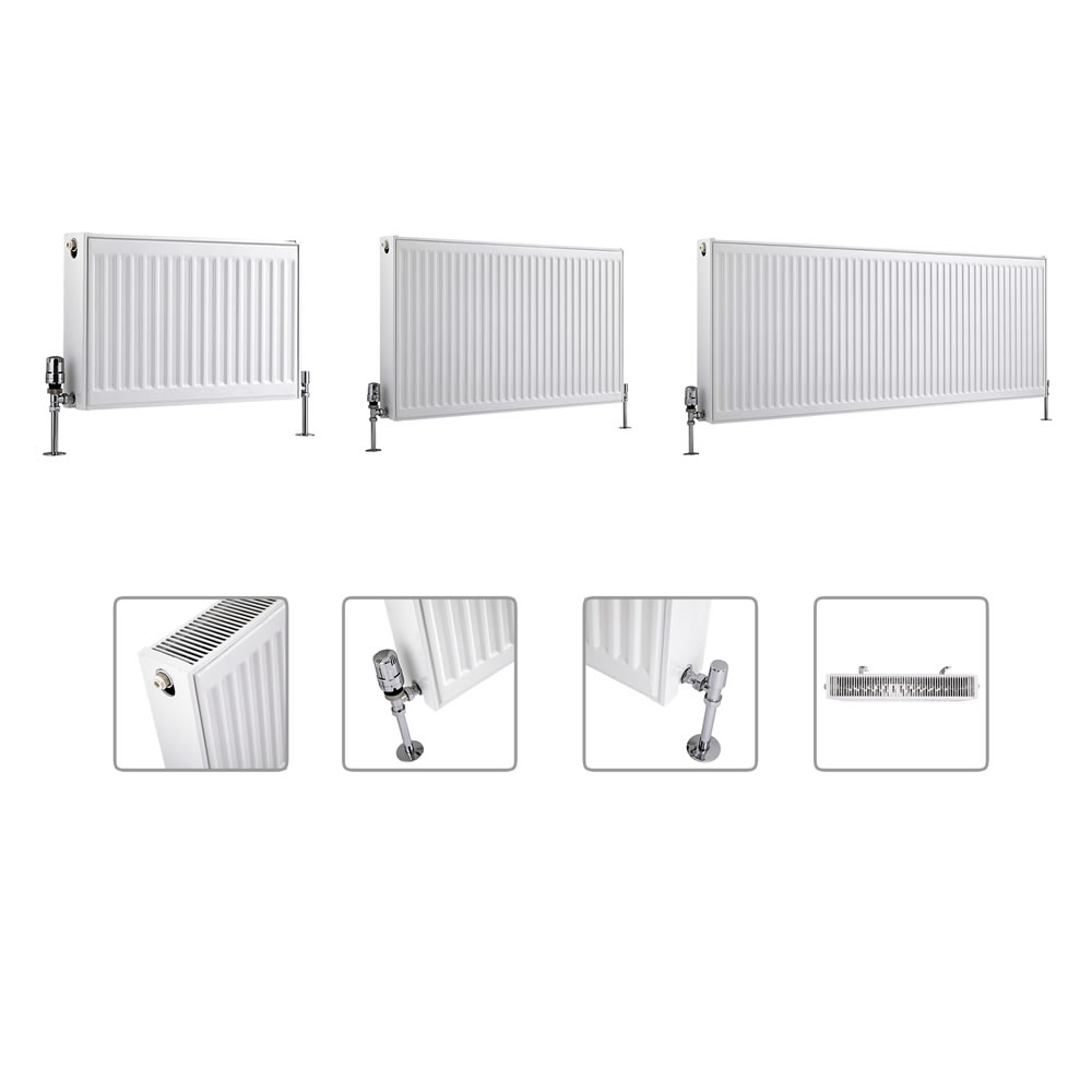 Radiador Convector Horizontal con Panel Doble - Blanco - Disponible en Distintas Medidas – Eco