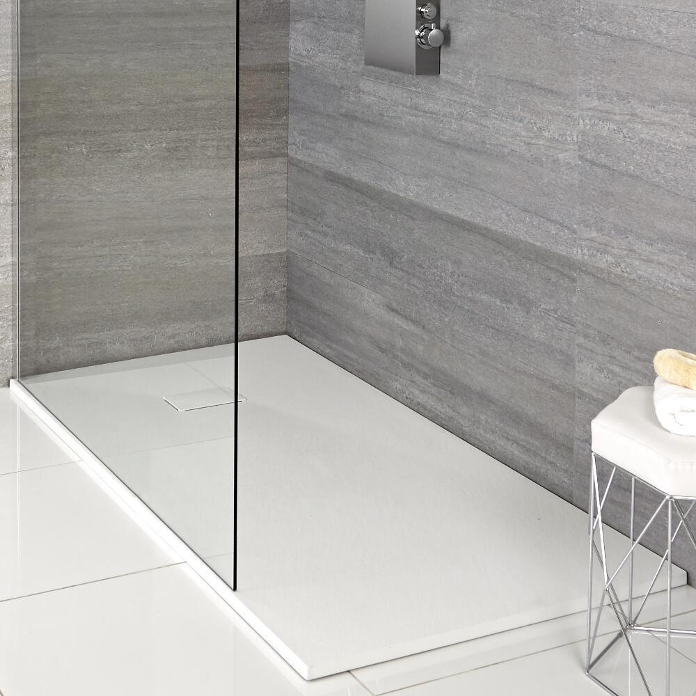 Plato de Ducha Rectangular Efecto Piedra de Color Blanco Opaco de 1400x800mm