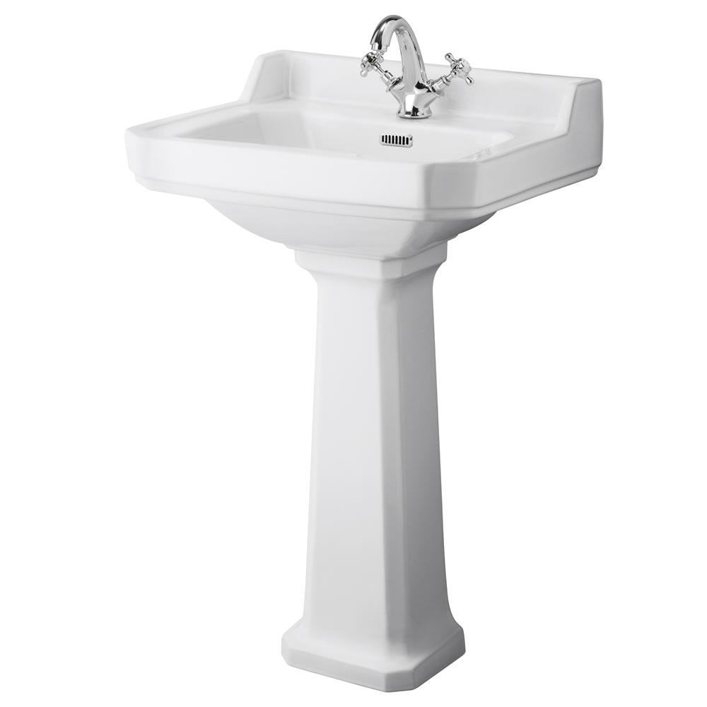 Lavabo con Pedestal en Cerámica 560mm