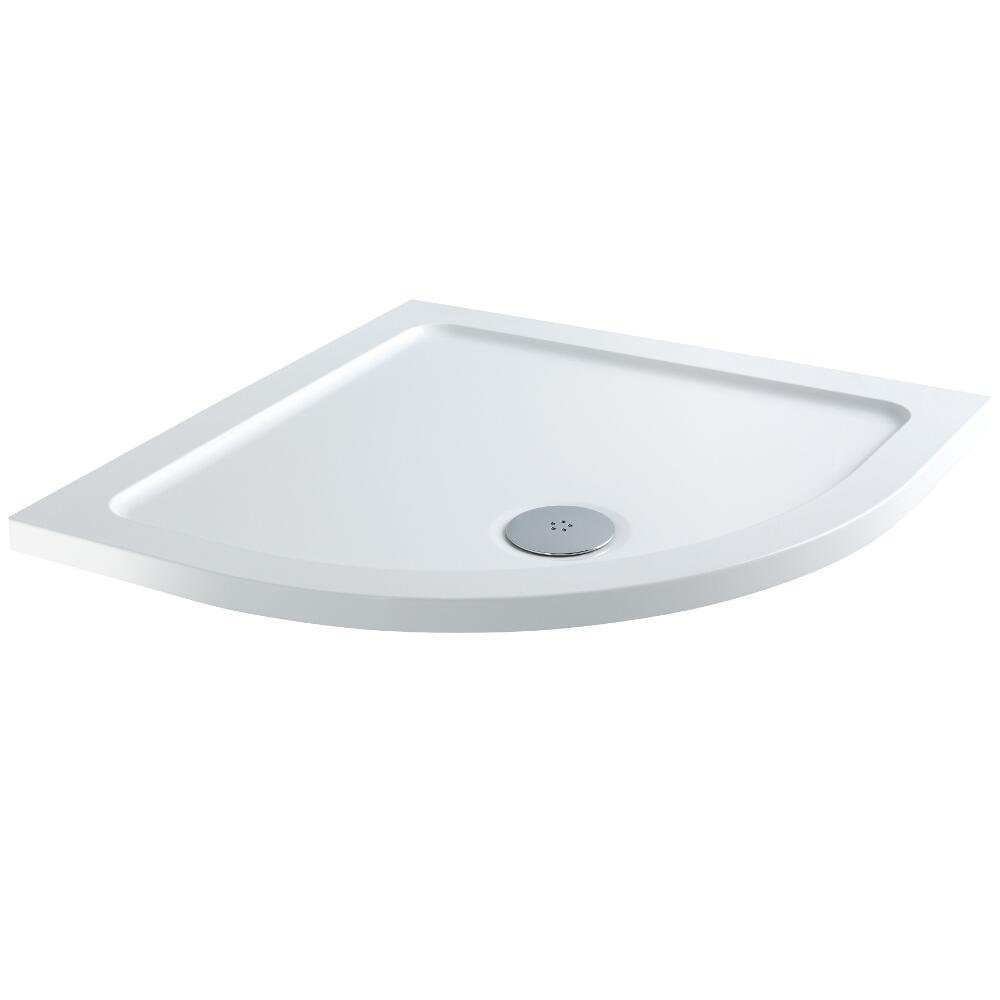 Plato de Ducha Angular Blanco de 800x800mm de Cuarto de Círculo Duco Stone