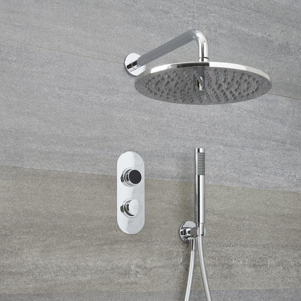 Ducha Digital con Sistema de Control de 2 Salidas con Alcachofa de Ducha Redonda de 300mm, Brazo Mural y Telefonillo de Ducha - Narus