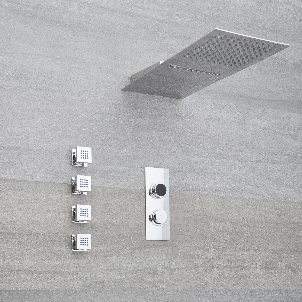 Ducha Digital con Sistema de Control de 3 Salidas con Alcachofa de Ducha Efecto Lluvia y Cascada, Telefonillo y Jets  de Ducha - Narus