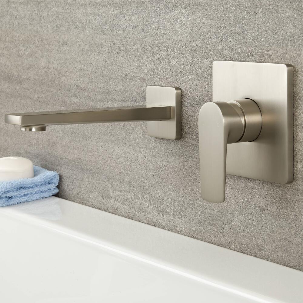 Mezclador Manual de 1 Función para Lavabo o Bañera Completo con Caño Erogador Níquel Cepillado - Harting