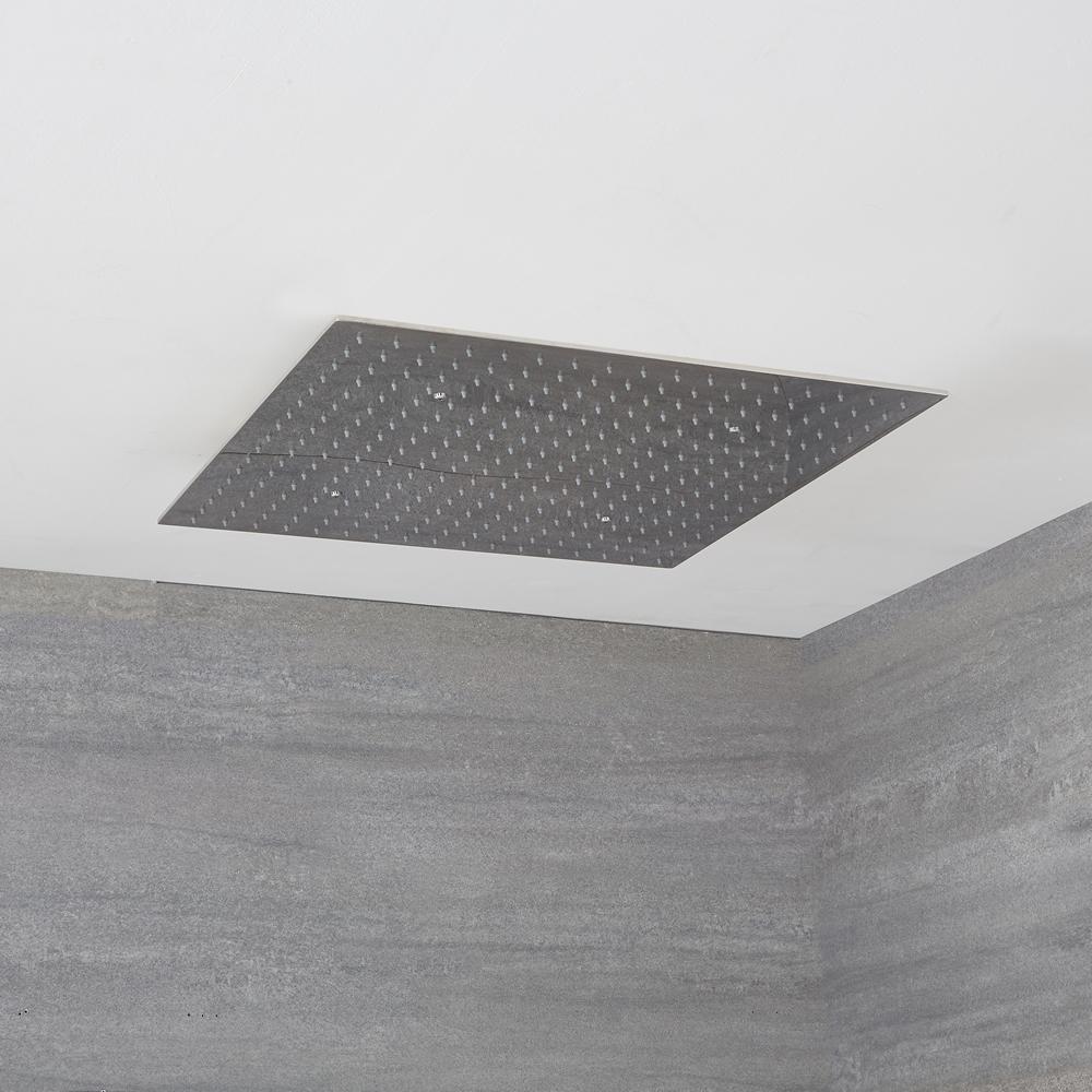 Alcachofa de Ducha Cuadrada Empotrable de Techo de Acero Inoxidable 600x600mm de Acero Inoxidable - Kubix