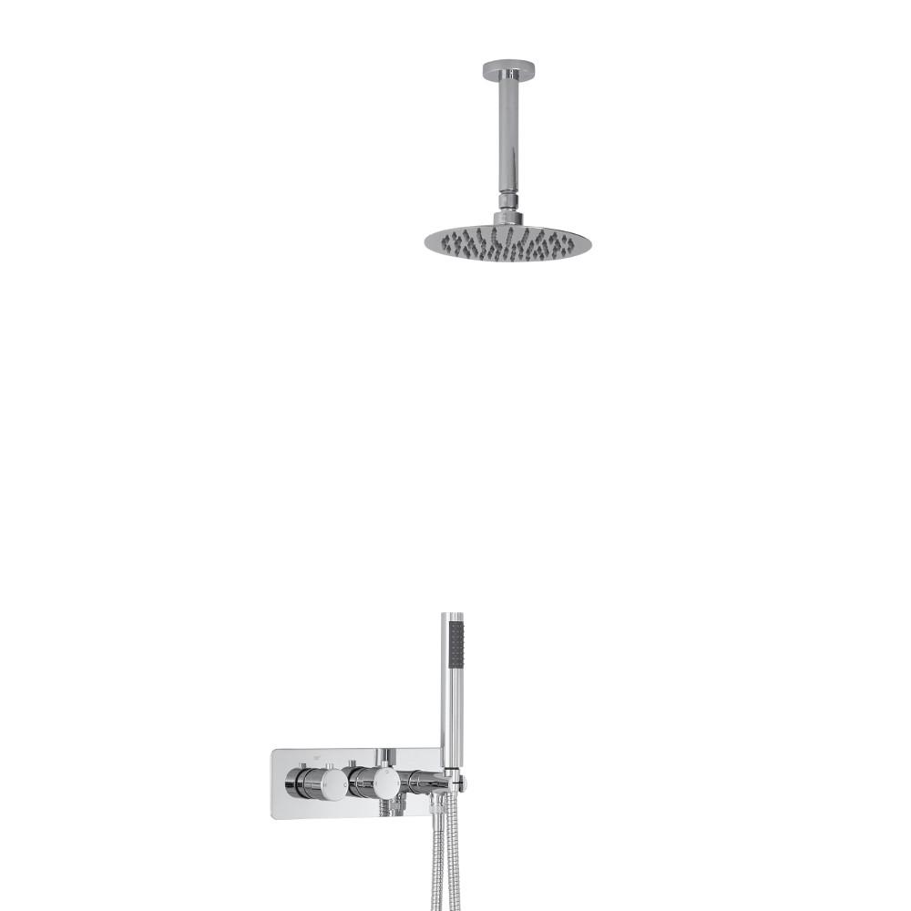 Mezclador de Ducha Empotrable de 2 Funciones con Alcachofa de 200mm con Diseño Redondo, Brazo de Techo y Telefonillo - Mirage