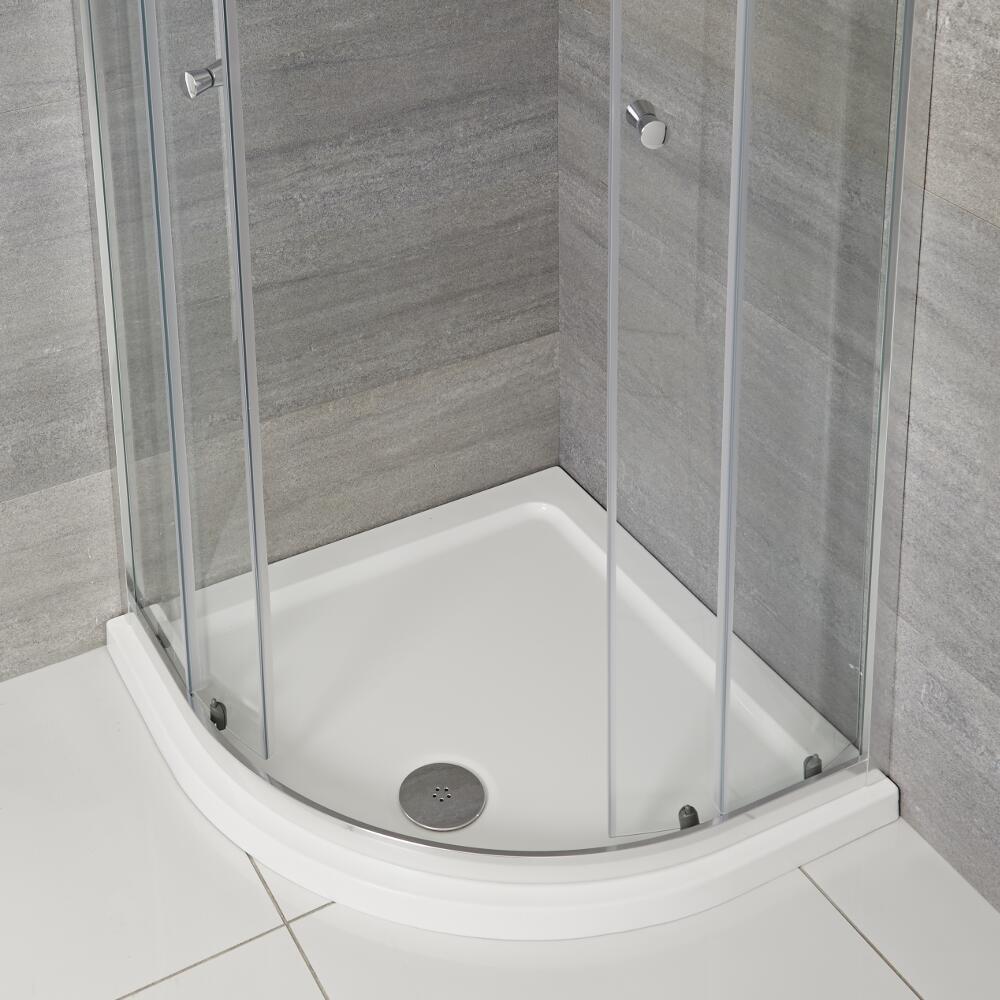 Plato de Ducha Angular Blanco de 800x800mm de Cuarto de Círculo Maxton