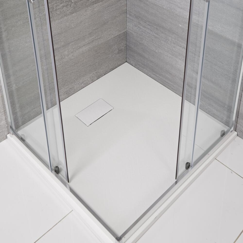 Plato de Ducha Cuadrado Efecto Piedra de Color Blanco Opaco de 800mm - Rockwell
