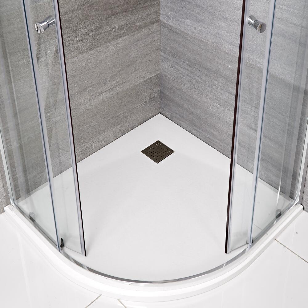 Plato de Ducha Angular Efecto Piedra de Color Blanco Opaco de 900mm - Rockwell