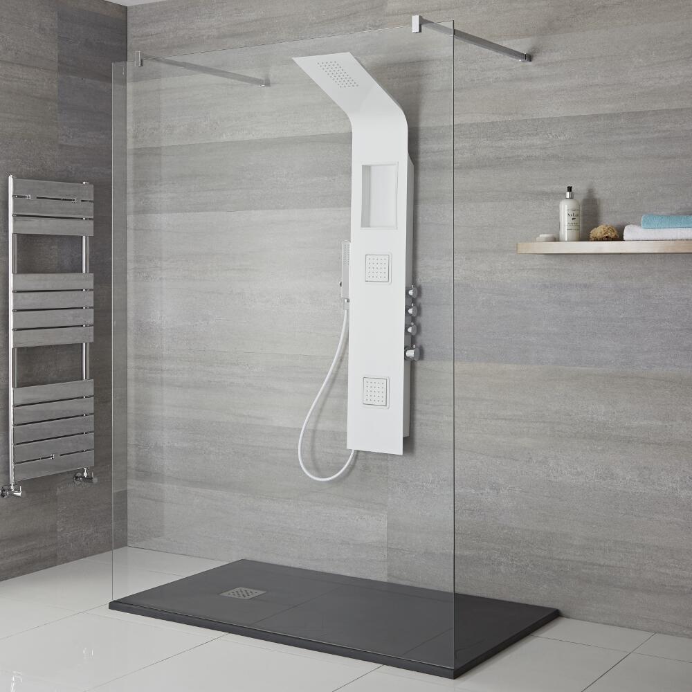 Panel de Ducha Termostático Blanco de 3 Funciones 1450x245x495mm con Erogador Integrado, Repisa y Ducha de Mano con Flexo de Ducha - Stamford
