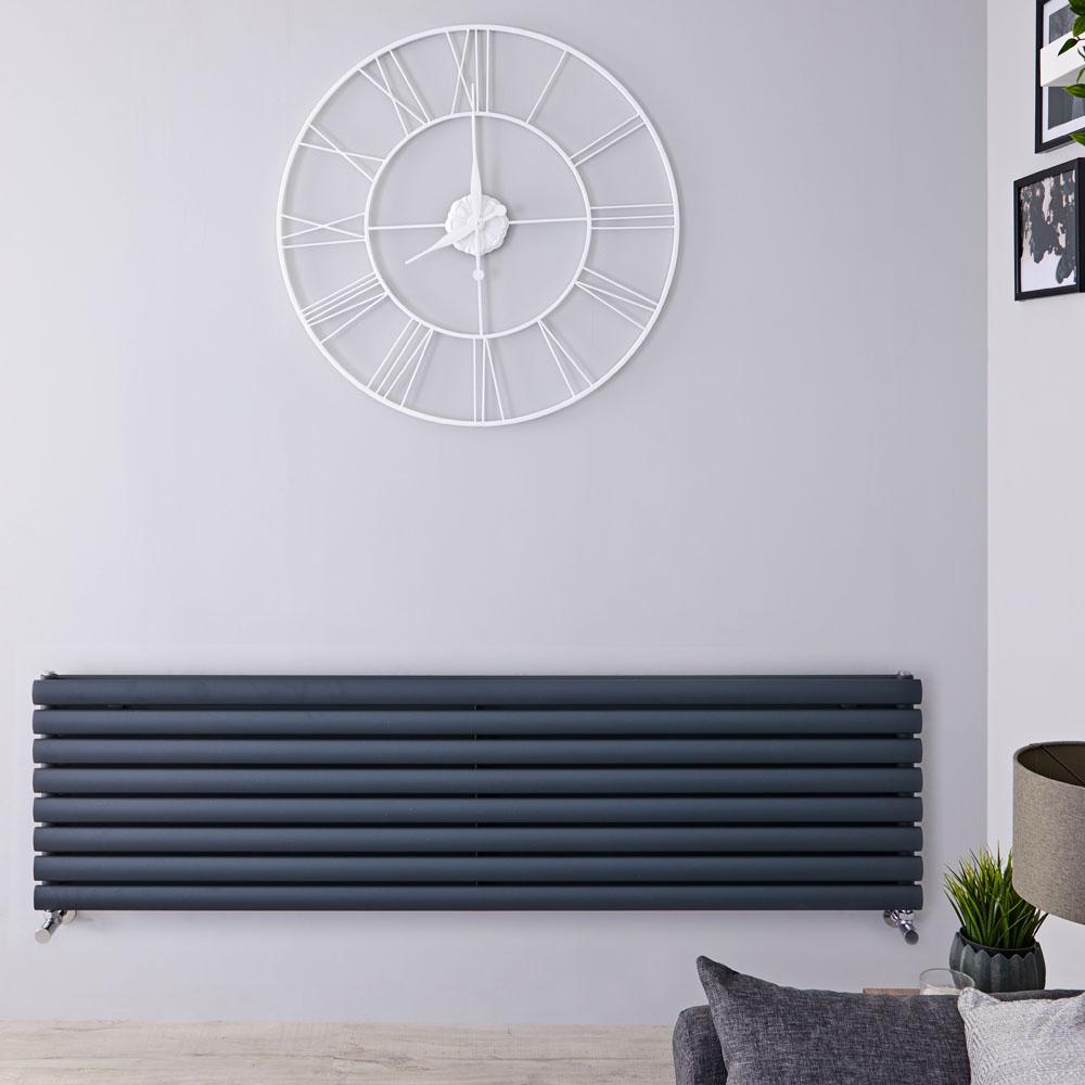 Radiador de Diseño Horizontal Doble - Antracita - 472mm x 1780mm x 78mm - 1798 Vatios - Revive