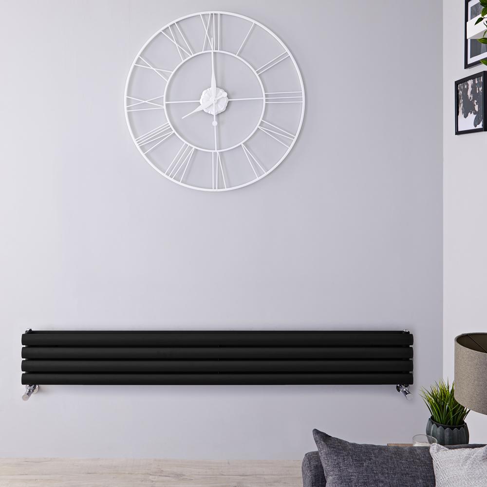 Radiador de Diseño Horizontal Doble - Negro Mate - 236mm x 1780mm x 78mm - 920 Vatios - Revive