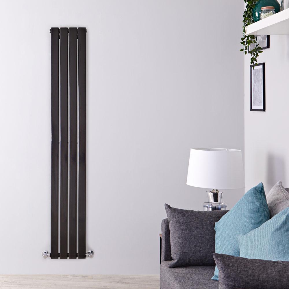 Radiador de Diseño Vertical - Negro Lúcido - 1780mm x 280mm x 47mm - 658 Vatios - Delta