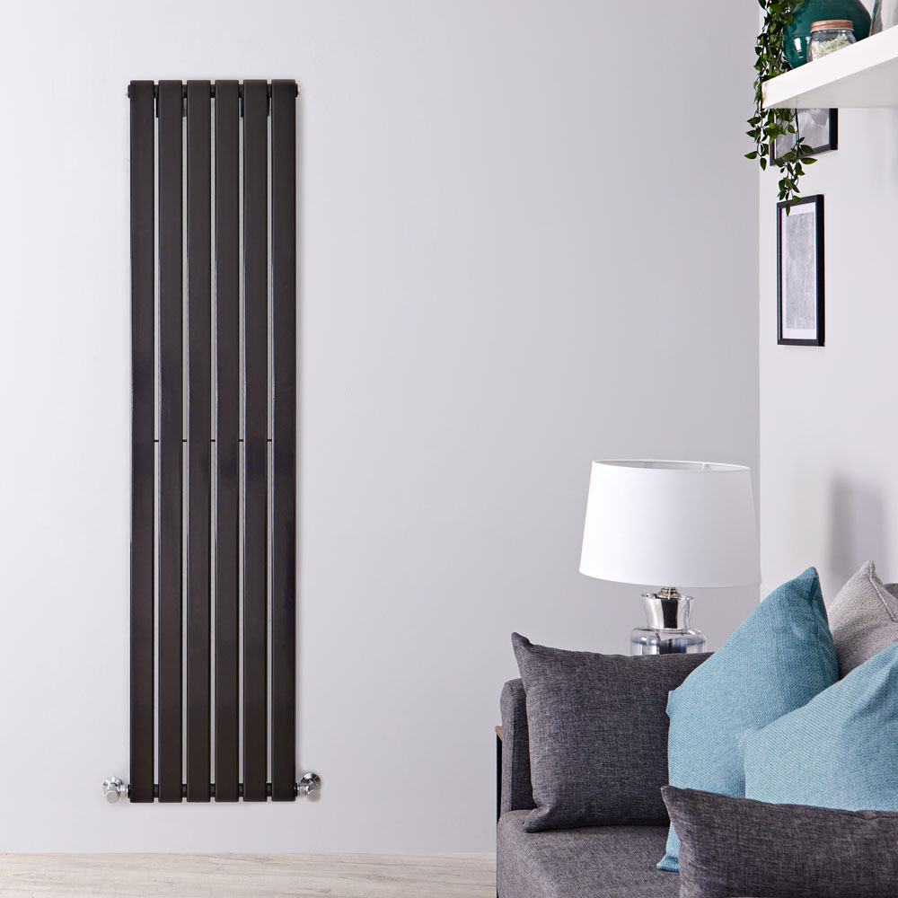 Radiador de Diseño Vertical - Negro Lúcido - 1780mm x 420mm x 47mm - 987 Vatios - Delta