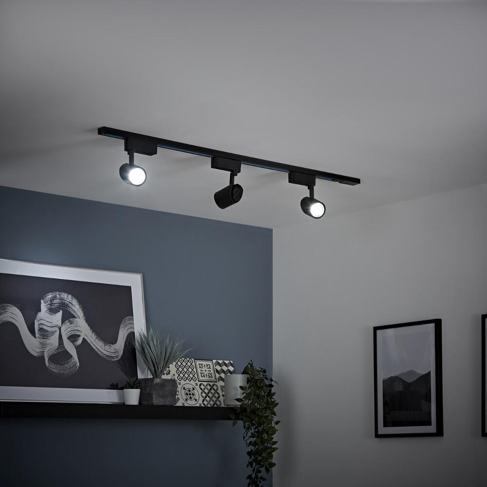Kit con Carril de Techo Negro LED de 7W - Disponible en Distintas Medidas