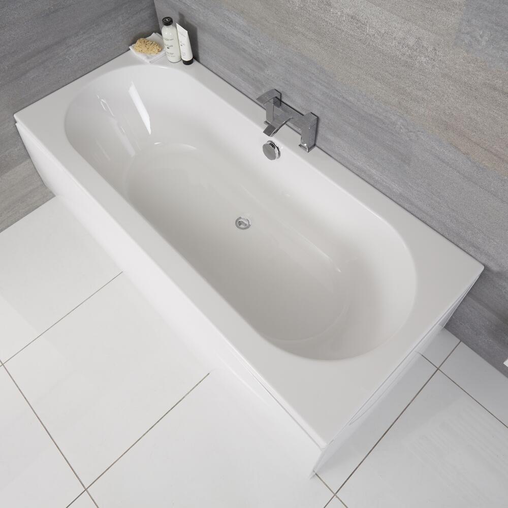 Bañera Rectangular Acrílica Blanca de 1800x800mm con Fondo Oval