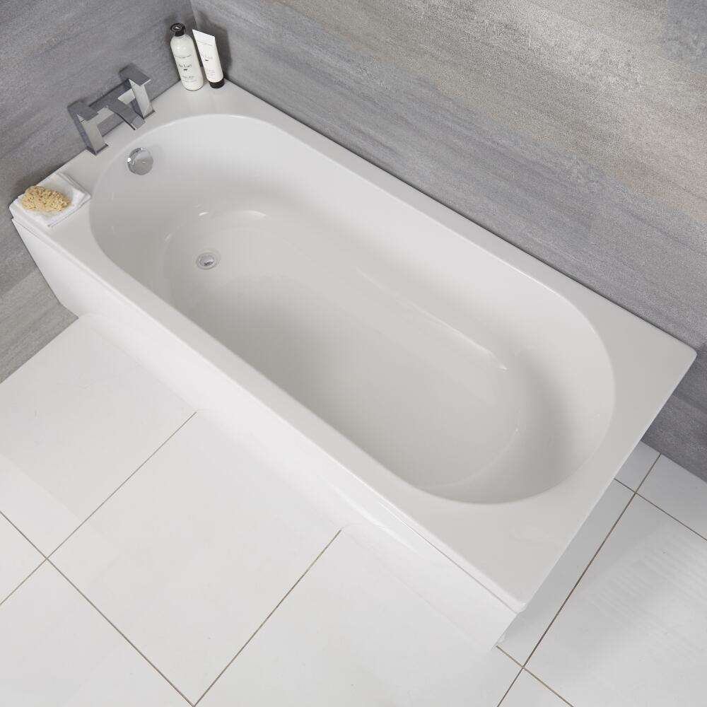 Bañera Rectangular Acrílica con Fondo Oval Estilo Retro de Color Blanco 1700x750mm