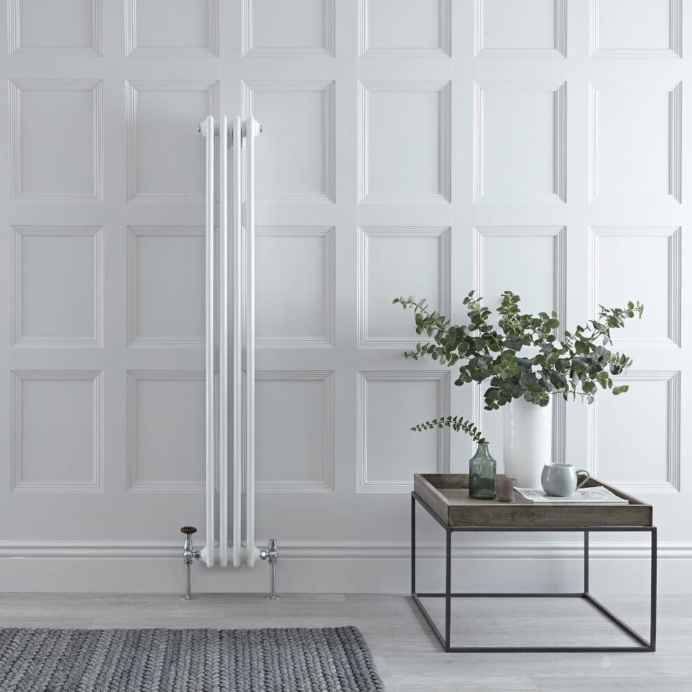 Radiador de Diseño Vertical Triple Tradicional - Blanco - 1500mm x 200mm x 100mm - 694 Vatios - Regent