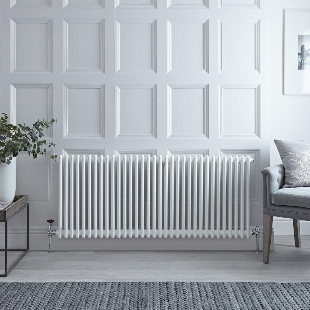 Radiador de Diseño Horizontal Doble Tradicional - Blanco - 600mm x 1508mm x 68mm - 1873 Vatios - Regent