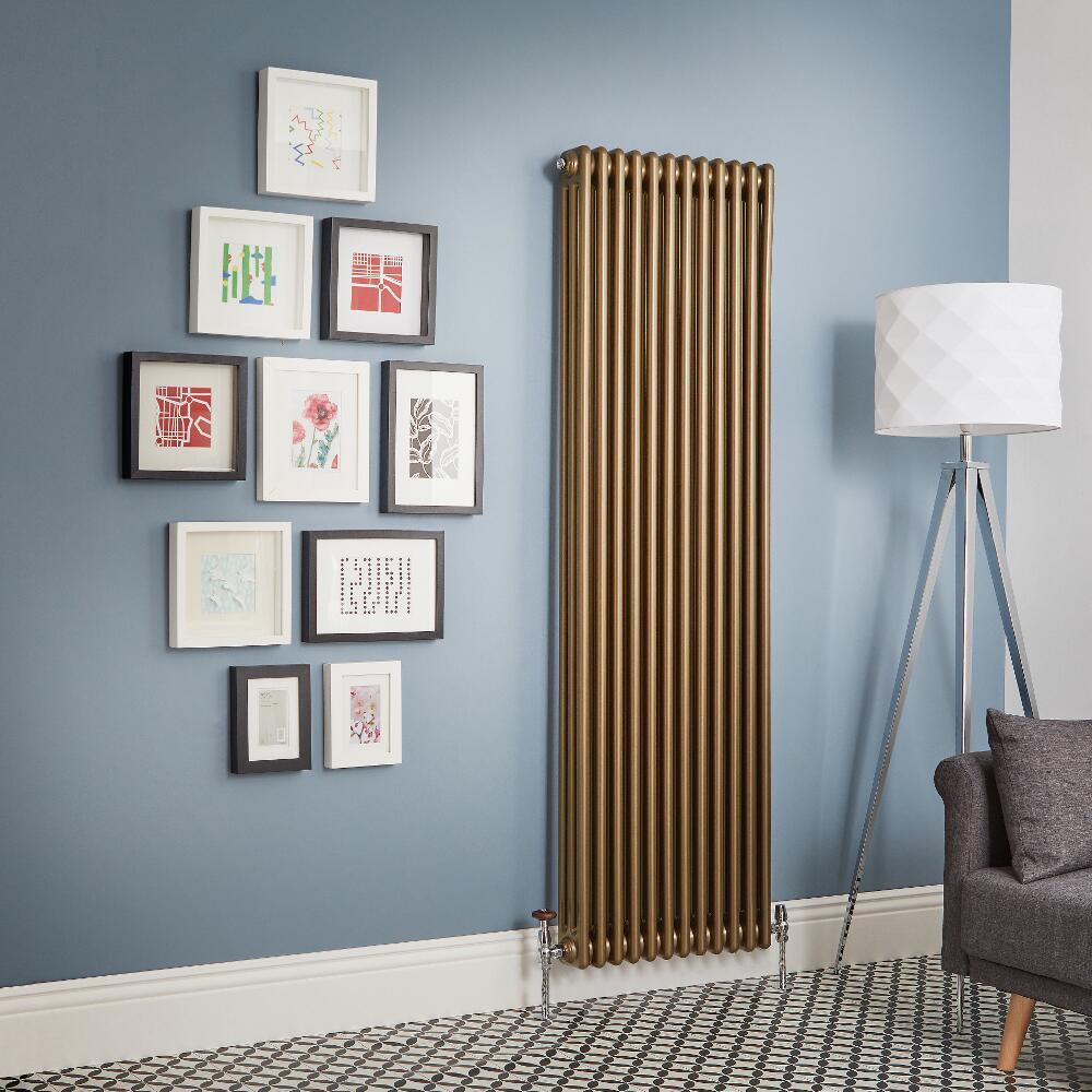 Radiador de Diseño Vertical - Bronce Metalizado - Regent - Disponible en Distintas Medidas (Columnas Triples)