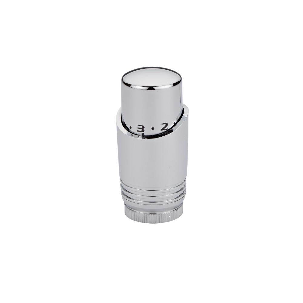 Cabezal Termostático Cromado con Blanco para Radiador o Toallero para Tubos de Cobre de 15mm