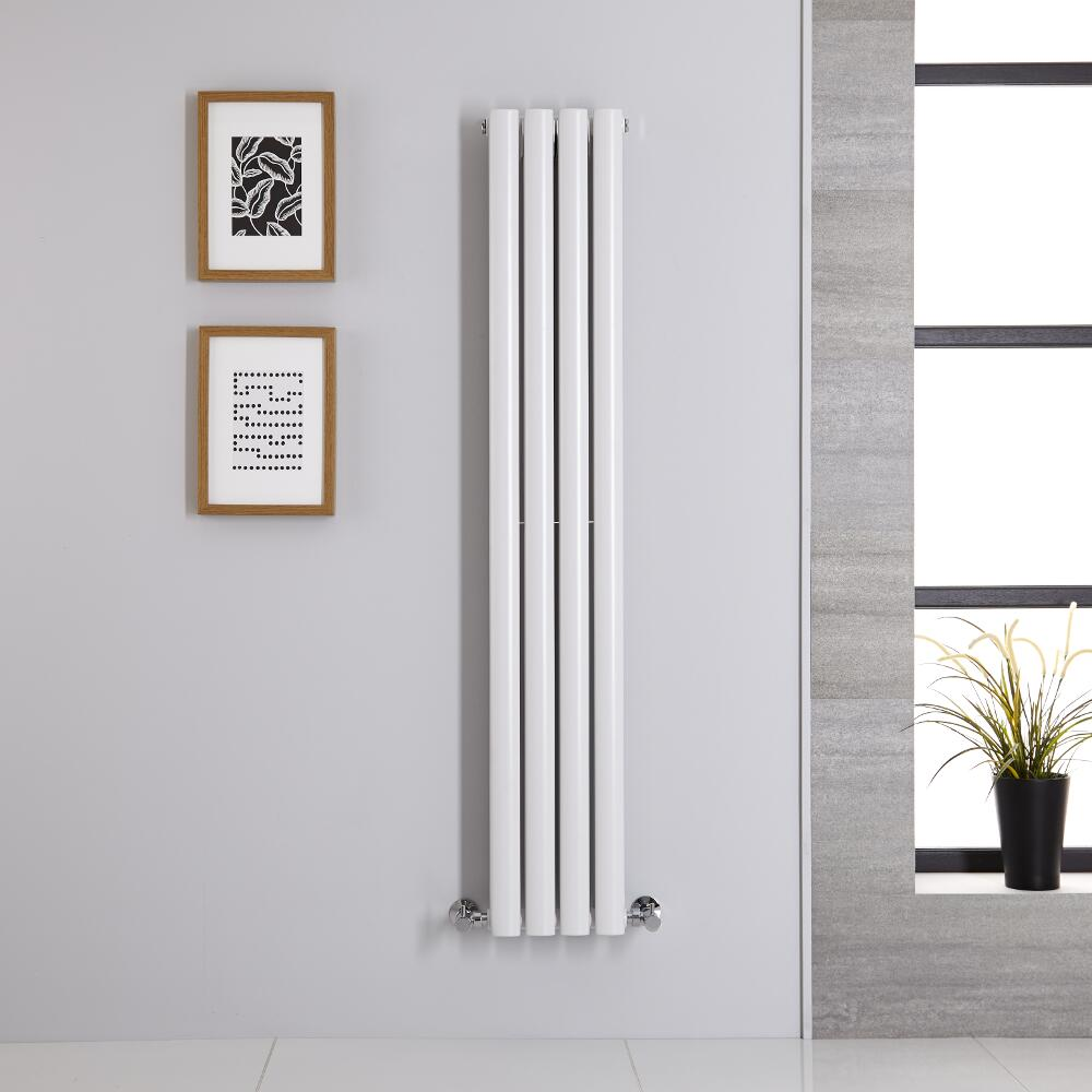 Radiador de Diseño Vertical Doble - Blanco - 1400mm x 236mm x 78mm - 696 Vatios - Revive