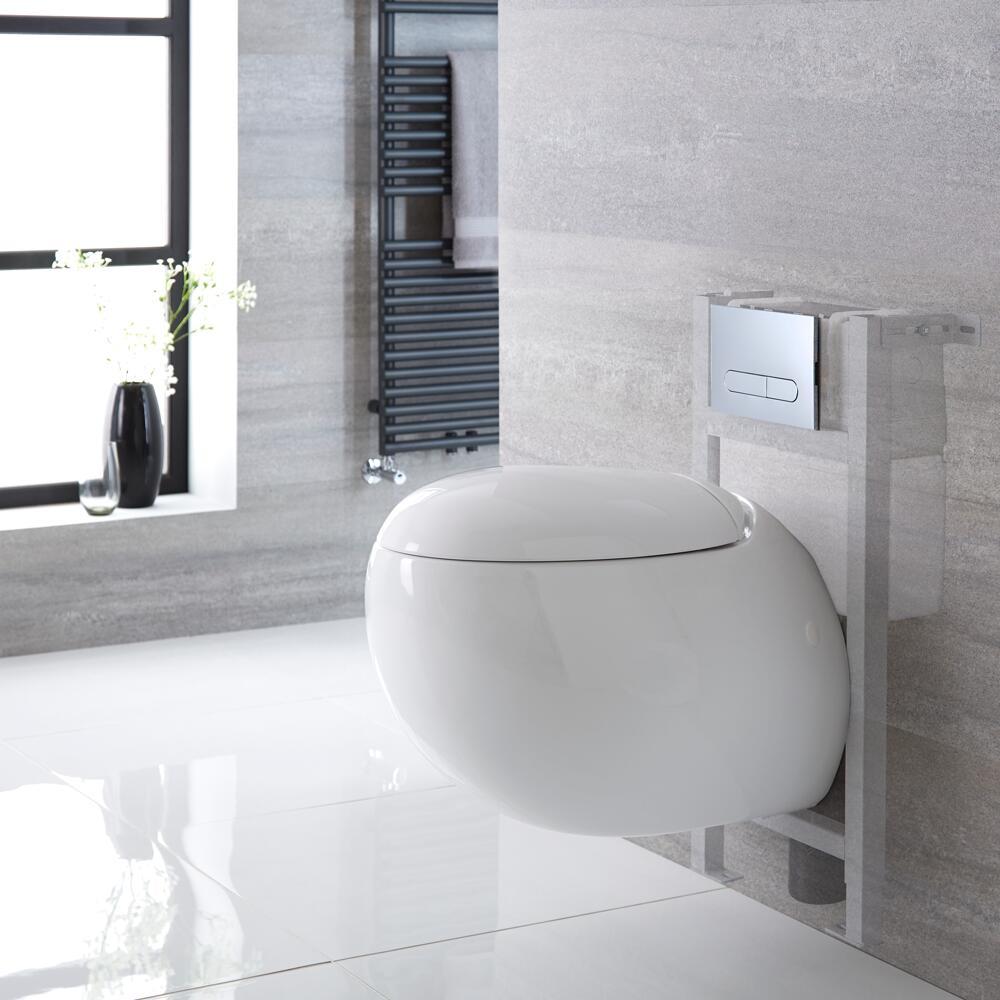 Inodoro Oval Suspendido 340x360x585mm con Tapa Soft Close, Estructura Empotrable, Cisterna y Placa de Descarga - Langtree