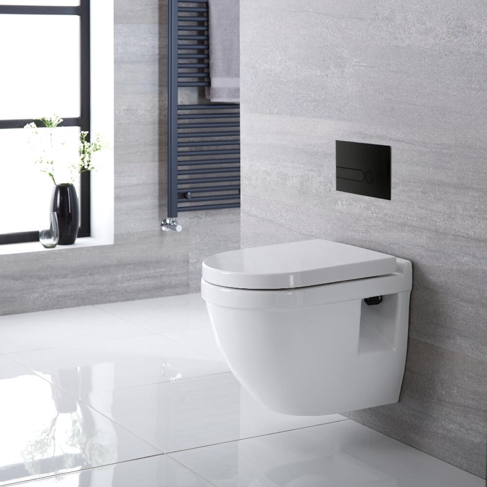 Inodoro Oval Suspendido 400x360x515mm con Tapa Soft Close, Estructura Empotrable para Cisterna y Placa de Descarga - Belstone