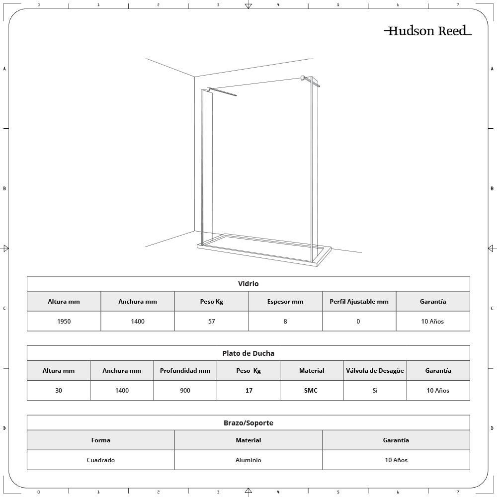 Conjunto con Mampara de Ducha de Obra de 1400x900mm, Hoja de Vidrio Flotante y Plato de Ducha  Color Antracita y Brazos de Soporte - Nox
